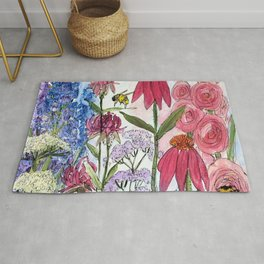 Watercolor Acrylic Cottage Garden Flowers Rug