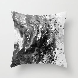 Black And White Half Faced Grizzly Bear Throw Pillow