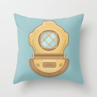 scuba Throw Pillows featuring Scuba by CaseyIllustrates
