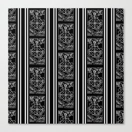 Black and White Tarot Print - Wheel Of Fortune Pattern Canvas Print