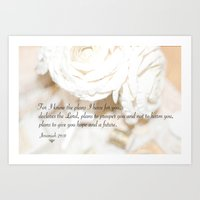 scripture Art Prints featuring Roses and Scripture by KarenHarveyCox