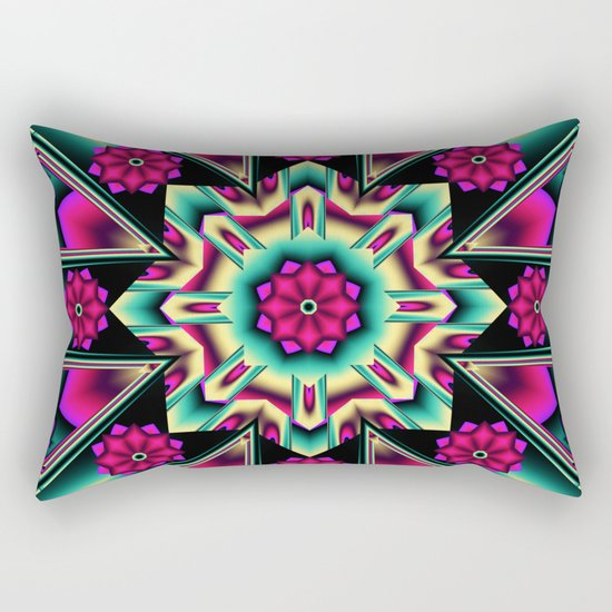 Starry kaleidpscope with fantasy flowers Rectangular Pillow