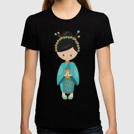 Japanese Girl, Japan, Cute Girl, Blue Kimono T-shirt