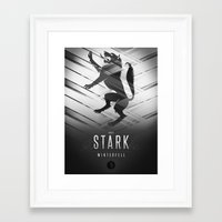 sansa Framed Art Prints featuring House Stark Sigil III (house seat) by P3RF3KT
