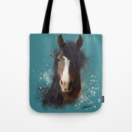 Black Brown Horse Artwork Tote Bag