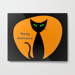 Happy Halloween mid-mod cat Metal Print
