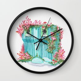 Growth on Glass Container | Surrealistic Aquarelle by Stephanie Kilgast Wall Clock