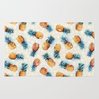 crystals Area & Throw Rugs featuring Pineapples + Crystals  by micklyn