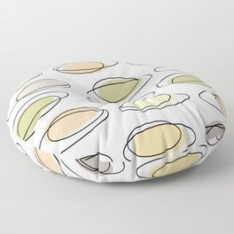Mid Century Modern Ovals Scribbles Pastel Floor Pillow