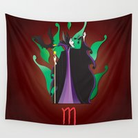 scorpio Wall Tapestries featuring Zodiaque - Scorpio by AmadeuxArt