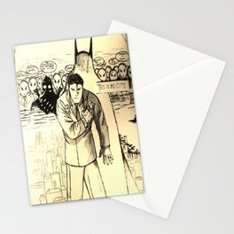 A Bat Between the Owls and His City Stationery Cards