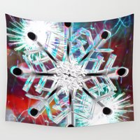 snowflake Wall Tapestries featuring Snowflake by Sarah Maurer
