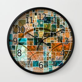 Elegant Abstract Tainted Squares Wall Clock