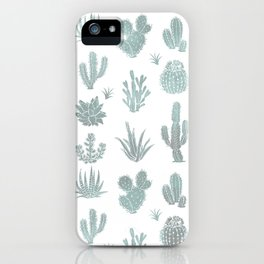 Cactus Pattern Blue/Grays iPhone Case