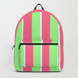 Vintage Victorian Pink Green and White Stripes - Vertical Backpack