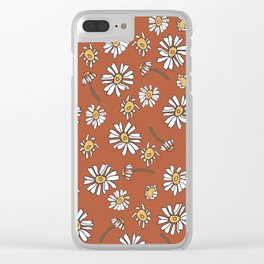 Wild Flowers Daisies Surface Pattern with Terra Cotta Background Clear iPhone Case