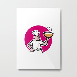 Chef Cook Holding Bowl Oval Cartoon Metal Print