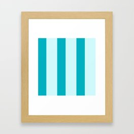 Happy Place Candy Stripe in Blue Framed Art Print