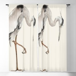 Heron on White by Arnold van Roessel Blackout Curtain