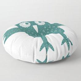 Green Owl Illustration Floor Pillow