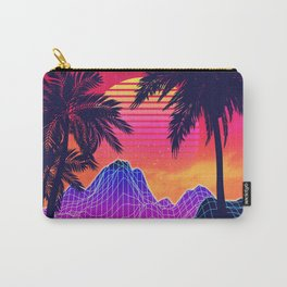 Neon glowing grid rocks and palm trees, futuristic landscape design Carry-All Pouch