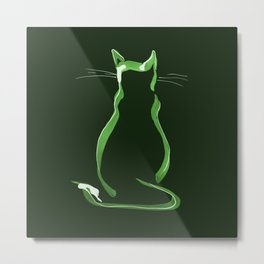 Sitting Cat from behind in Green Metal Print