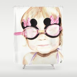 Ready for a swim. Shower Curtain