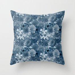 Silver Wedding - Honeymoon Flowery Pattern Throw Pillow