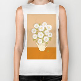 bouquet of white camomiles in the vase Biker Tank