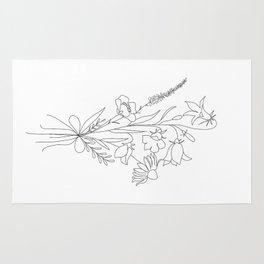Small Wildflowers Minimalist Line Art Rug