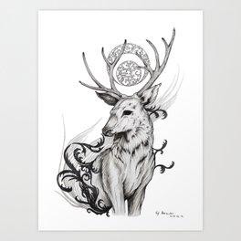 Deer with Sun and Moon Art Print
