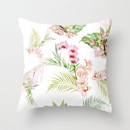 Pink Orchid, Hostas + Palms Pattern Throw Pillow