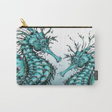 Cyan Seahorse Carry-All Pouch