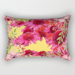 FUCHSIA-PINK FLOWERS YELLOW ART PATTERNS Rectangular Pillow