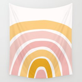 Abstract Shapes 94 in Mustard Yellow and Pale Pink (Rainbow Abstraction) Wall Tapestry