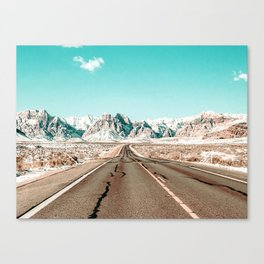 Vintage Desert Road // Winter Storm Red Rock Canyon Las Vegas Nature Scenery View Canvas Print