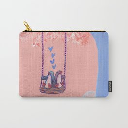 Penguins in Love on Their Tree Swing in a Pink Sky Carry-All Pouch