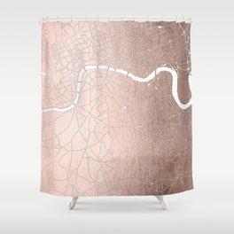 RoseGold on White London Street Map II Shower Curtain