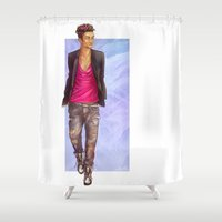 bane Shower Curtains featuring Magnus Bane by laya rose