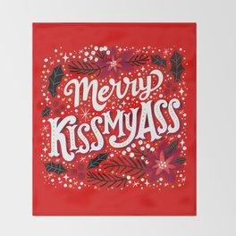 Merry Kissmyass Throw Blanket