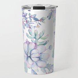 Pretty Blue Pink Succulents Garden Travel Mug