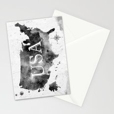 Black USA Map Stationery Cards