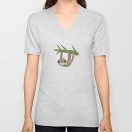 Three-toed sloth on green branch on white background Unisex V-Neck