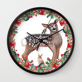 Christmas Deer, robin, rabbit, berries and candy canes Wall Clock