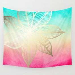 Gold Flower on Turquoise & Pink Watercolor Wall Tapestry