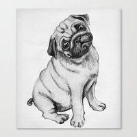pug Canvas Prints featuring Pug by Maripili