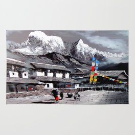 Panoramic View Of Everest Base Camp Rug