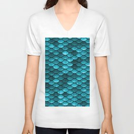 Teal Mermaid Tail Scales Unisex V-Neck