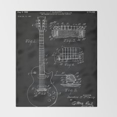 Gibson Guitar Patent Les Paul Vintage Guitar Diagram Throw Blanket