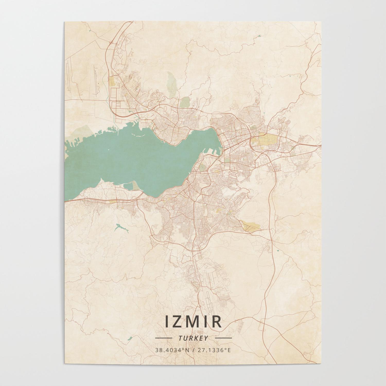 Izmir Turkey Vintage Map Poster By Designermapart Society6